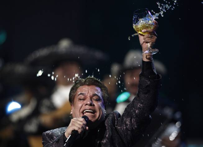 In this Thursday, Nov. 5, 2009, file photo, Juan Gabriel performs at the 10th Annual Latin Grammy Awards in Las Vegas.