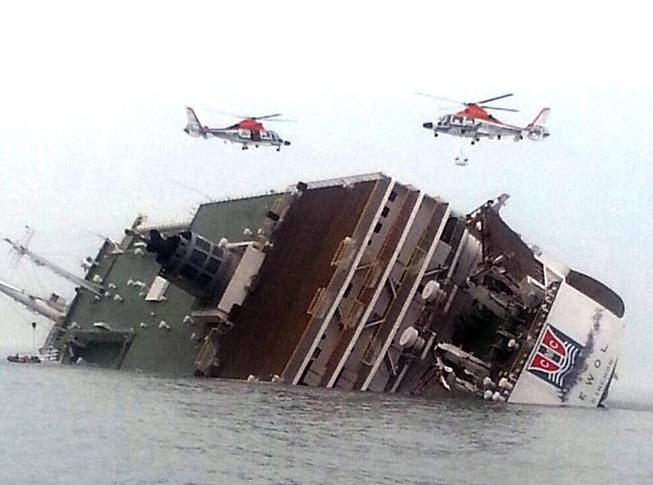 Rescue helicopters fly over a sinking South Korean passenger ferry that was carrying more than 450 passengers, mostly high school students, Wednesday, April 16, 2014, off South Korea's southern coast.