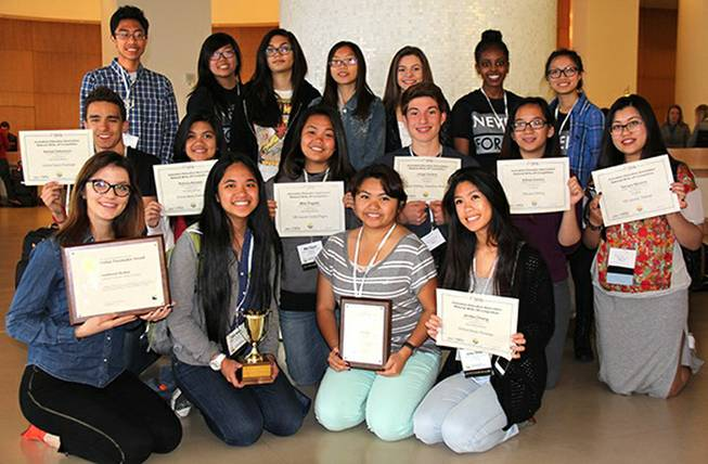 These Southwest Career and Technical Academy journalism students recently won awards at the  Journalism Education Association/National Scholastic Press Association conference in San Diego. The students are, front row from left, Alexandra Nedelcu, Nikki Molina, Acel Soriano and Jenika Chiang; second row from left, Danijel Zekanovic, Patricia Ascano, Shamaeka Pagado, Jorge Carrera, Maria-Althea Gevero and Tamara Navarro; and back row, from left, Migi Contreras, Emily Yu, Amanda Galvan, Calida Tam, Mayra Valdez, Helen Abraha and Miruel Talaro