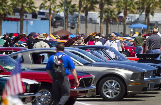 Visitors walk through a parking lot filled with hundreds of late-model and classic Mstangs during the Mustang 50th Birthday Celebration at the Las Vegas Motor Speedway Thursday, April 17, 2014.