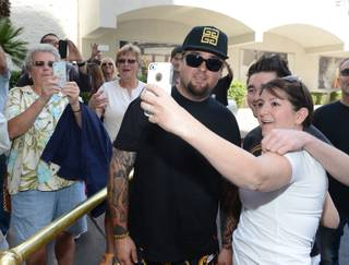 """Pawn Stars"" parody ""Pawn Shop Live!"" officially moved to the Riviera from the Golden Nugget on Wednesday, April 16, 2014. Austin ""Chumlee"" Russell is pictured here posing with fans."