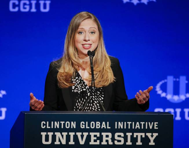 In this March 2, 2014, file photo, Chelsea Clinton, vice chair of the Clinton Foundation, speaks during a student conference for the Clinton Global Initiative University at Arizona State University in Tempe, Ariz.