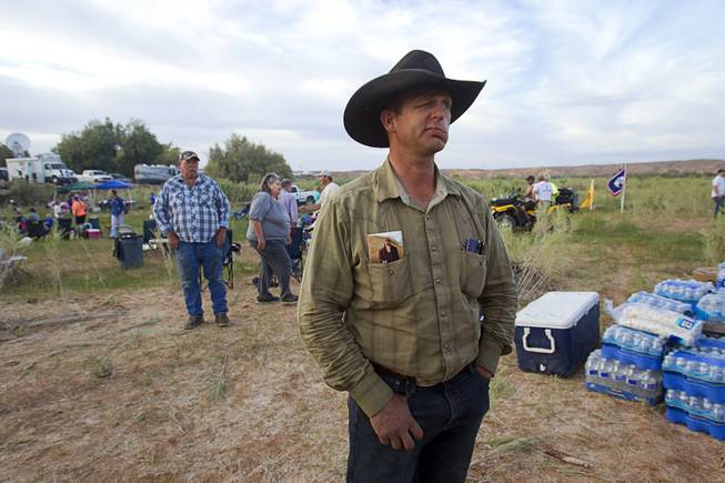 "Ryan Bundy, son of rancher Cliven Bundy, attends a Bundy family ""Patriot Party"" near Bunkerville Friday, April 18, 2014. The family organized the party to thank people who supported rancher Cliven Bundy in his dispute with the Bureau of Land Management."