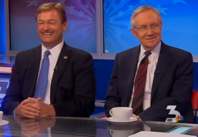 "U.S. Sens. Dean Heller, left, and Harry Reid appear on the KSNV-TV show ""What's Your Point?"" on Friday, April 18, 2014. The two Nevadans are shown in a screen shot from a video of the show."