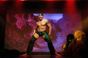 "A dancer performs during a performance of ""Men: The Experience"" at the Riviera Thursday, April 18, 2014."