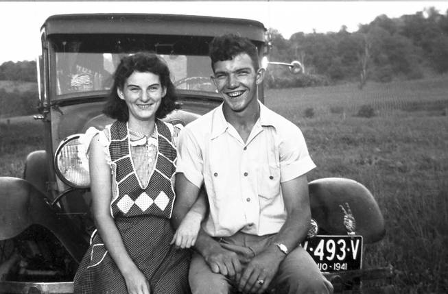 In this September 1941 photo provided by Dick Felumlee, Kenneth and Helen Felumlee pose for a photo nearly three years before their marriage in February 1944. The Felumlees, who celebrated their 70th wedding anniversary in February, died 15 hours apart from each other last week.