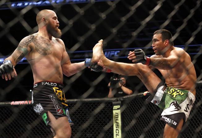 Fabricio Werdum, right, and Travis Browne fight in the main event during a mixed martial arts event on Saturday, April 19, 2014, at UFC Fight Night in Orlando, Fla. Werdum won in a decision.