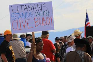 Photos of the April 12, 2014 stand-off between the Bureau of Land Management and supporters of rancher Cliven Bundy near Bunkerville, Nevada. The BLM eventually called off their roundup of Bundy cattle citing safety concerns. Courtesy of Shannon Bushman.