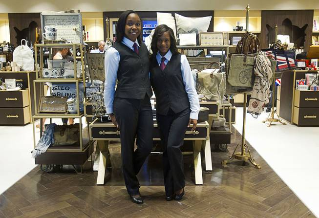 Sales associates Rashanae Jake, left, and Arielle Muhammad pose in Curios during the opening of the casino floor at the Cromwell, formerly Bill's Gamblin' Hall & Saloon, on the Las Vegas Strip and Flamingo Avenue, Monday, April 21, 2014. The casino is undergoing a $185 million renovation project that includes remodeling of guest rooms, casino floor and common areas, the addition of a new second floor restaurant, and construction of the 65,000 square foot rooftop pool and dayclub/nightclub.