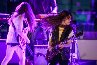 Haim performs at Boulevard Pool on Thursday, April 17, 2014, in the Cosmopolitan of Las Vegas.