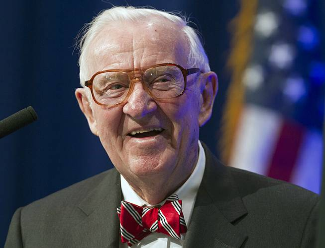 Former U.S. Supreme Court Justice John Paul Stevens speaks at a lecture presented by the Clinton School of Public Service in Little Rock, Ark., on May 30, 2012.