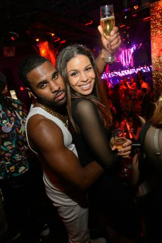 Jason Derulo, with girlfriend Jordin Sparks, at Tao on Saturday, April 19, 2014, in the Venetian.