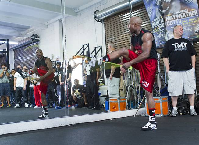 WBC welterweight champion Floyd Mayweather Jr. works out with a jump rope at the Mayweather Boxing Club Tuesday, April 22, 2014. Mayweather is preparing for his fight against WBA champion Marcos Maidana of Argentina at the MGM Grand Garden Arena on May 3.