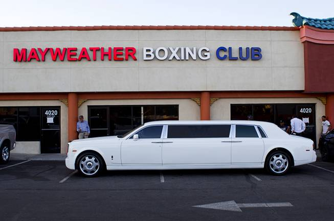 Floyd Mayweather Jr.'s Rolls Royce limousine is shown at the Mayweather Boxing Club Tuesday, April 22, 2014. Mayweather is preparing for his fight against WBA champion Marcos Maidana of Argentina at the MGM Grand Garden Arena on May 3.