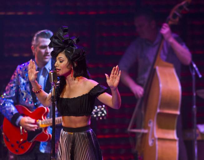 "Melody Sweets sings ""My Boy Elvis"" as a guest star in ""Million Dollar Quartet"" on Tuesday, April 22, 2014, at Harrah's."