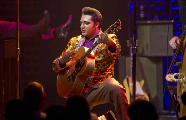 "Justin Shandor portrays Elvis in ""Million Dollar Quartet"" on Tuesday, April 22, 2014, at Harrah's."