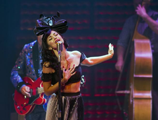 "Melody Sweets sings ""My Boy Elvis"" as a guest star in ""Million Dollar Quartet"" at Harrah's on Tuesday, April 22, 2014."