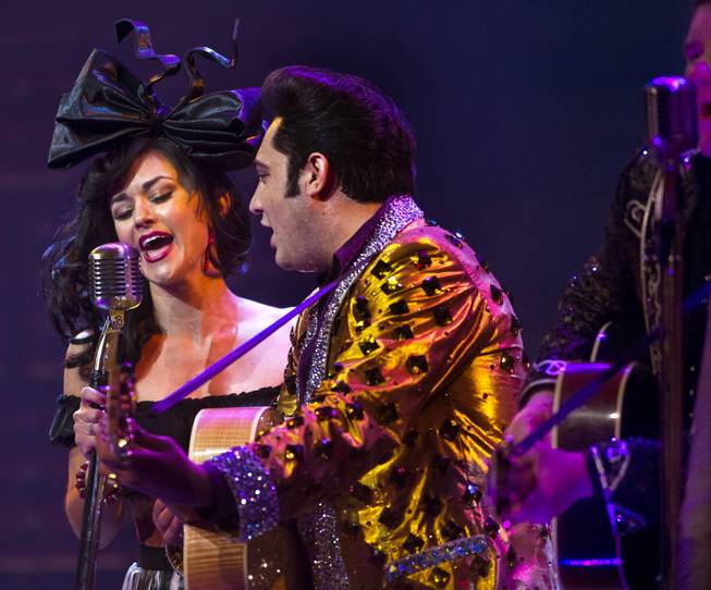 "Melody Sweets sings ""My Boy Elvis"" alongside Justin Shandor as Elvis during her guest appearance in ""Million Dollar Quartet"" on Tuesday, April 22, 2014, at Harrah's."