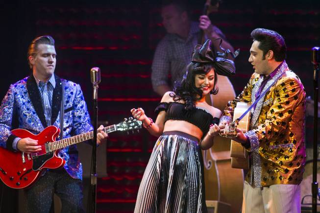 "Melody Sweets dances between Robert Britton Lyons as Carl Perkins and  Justin Shandor as Elvis during her guest appearance in ""Million Dollar Quartet"" on Tuesday, April 22, 2014, at Harrah's."