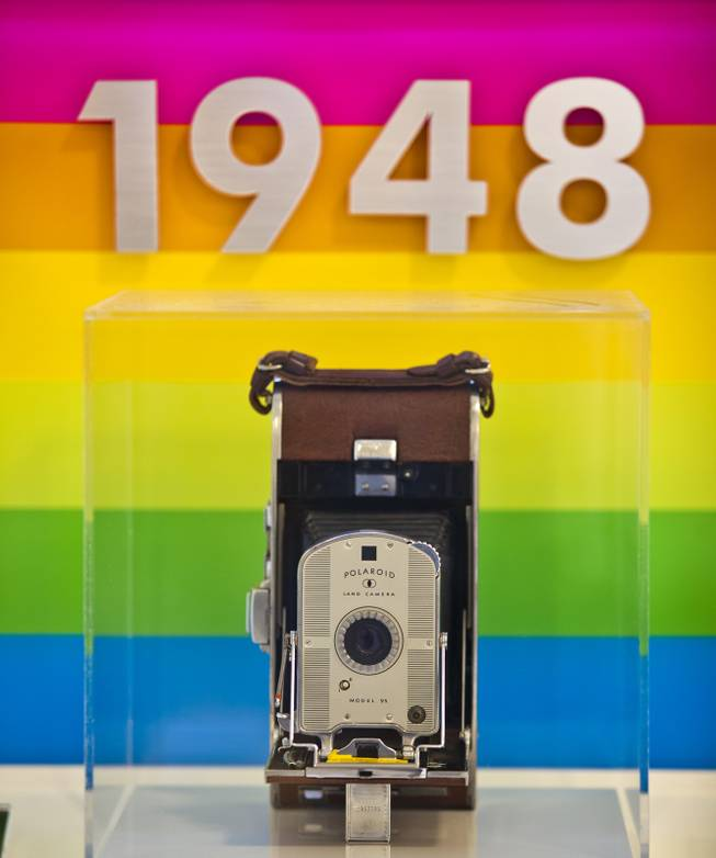 The first Polaroid Land camera from 1948 is one of many on display in the Polaroid Museum on Wednesday, April 23, 2014.