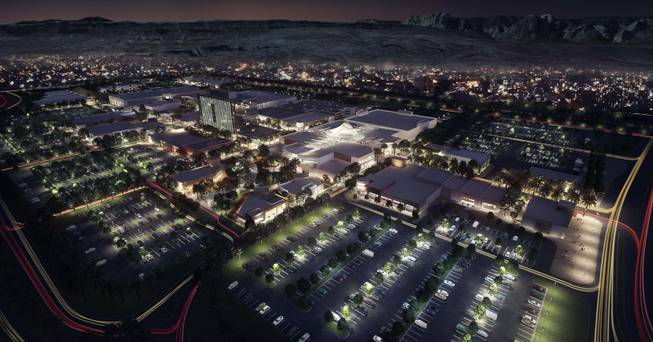 A night aerial rendering of the Shops at Summerlin. Howard Hughes Corp. on Wednesday, April 23, 2014, announced plans to build an apartment complex adjacent to the under-construction shopping center.