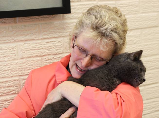 In this April 22, 2014, photo provided by Peggy Bender, Virginia Fryback hugs her cat, Charlie, at Fort Wayne Animal Care & Control in Fort Wayne, Ind. Fryback says Charlie disappeared from her home five years ago and she thought she'd never see him again. She thanks the veterinarian who convinced her to get a microchip when Charlie was a kitten.