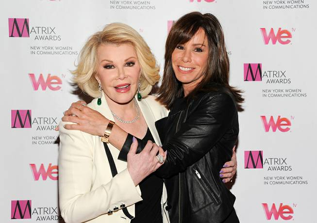 Television personalities Joan Rivers, left, and daughter Melissa Rivers attend the 2013 Matrix New York Women in Communications Awards at the Waldorf-Astoria Hotel on April 22, 2013, in New York.
