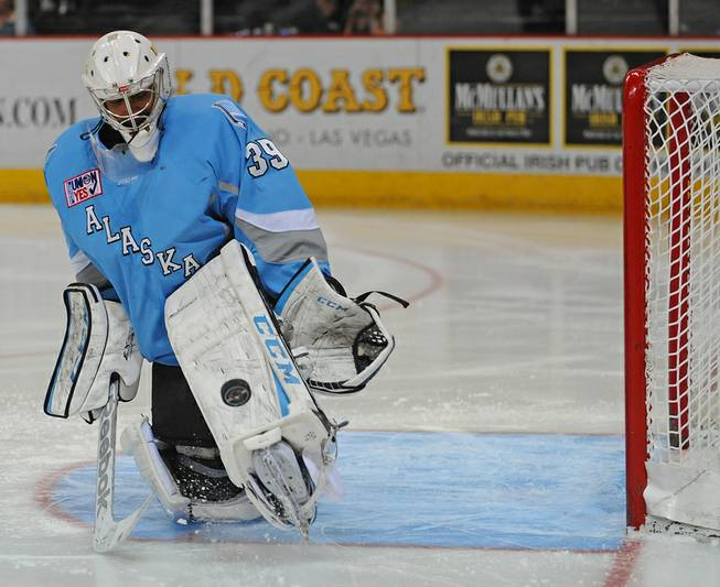 Alaska Aces goaltender Gerald Coleman makes a kick save against the Las Vegas Wranglers during the third game of a first round Kelly Cup playoff series at the Orleans Arena on Wednesday night.