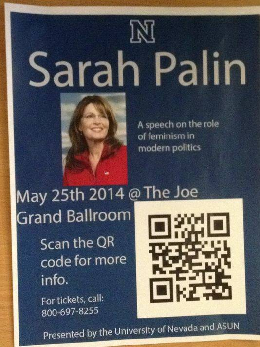 This flier, making its way around the UNR campus, promotes an appearance by former GOP vice presidential candidate Sarah Palin, but the 1-800 number to call for tickets actually is a telephone sex line.