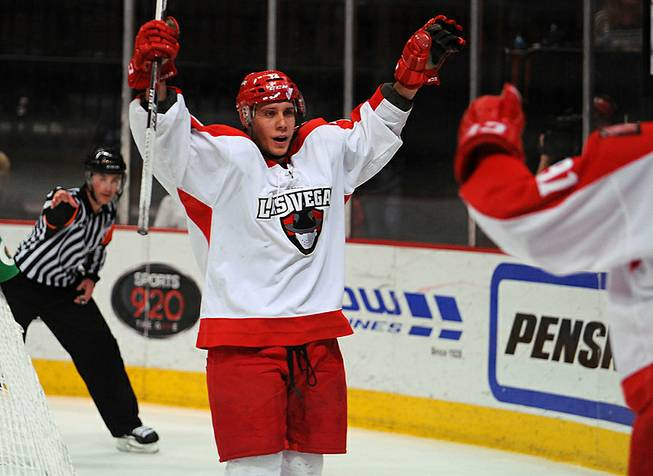 Wranglers forward Chris Francis celebrates after scoring a second-period goal against the Alaska Aces during Game 4 of a first-round ECHL playoff matchup Friday, April 25, 2014, at Orleans Arena.