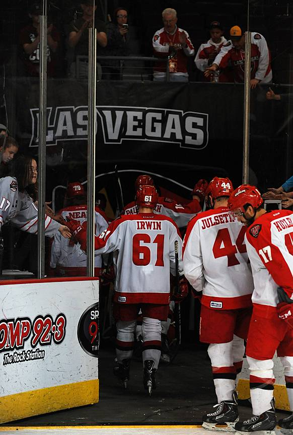 After 10 seasons, the Las Vegas Wranglers leave the ice of the Orleans Arena for one last time after being swept by the Alaska Aces in the first round of the playoffs on Friday night.