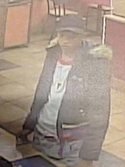 Metro Police identified this person as a suspect in the robbery of a fast-food restaurant on the east side of Las Vegas about 9:10 p.m. on April 5, 2014.