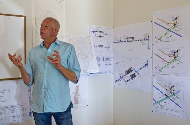 Las Vegas developer Jim Rhodes talks strategy within the office on his new Kingman Farms outside Kingman,  Ariz.,  on Wednesday, April 9, 2014.