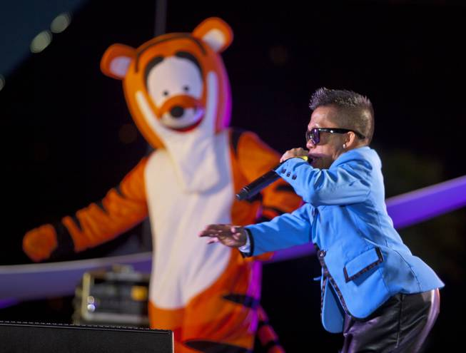 Little Psy entertains the crowd during the Third Annual Las Vegas Foodie Fest across from the Luxor Hotel on Thursday, April 24, 2014.