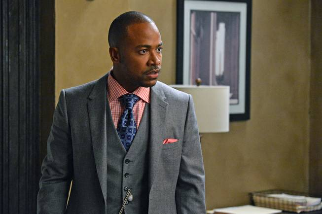 "This image released by ABC shows Columbus Short as Harrison Wright in a scene from ""Scandal."" The 31-year-old actor said in a statement Friday, April 25, 2014, that he's exiting the political thriller after three seasons."