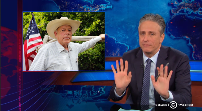 "Jon Stewart, shown in this screen shot from Thursday's airing of ""The Daily Show with Jon Stewart,"" is among a handful of comedians who focused their attention on Clark County rancher Cliven Bundy."
