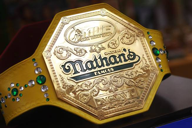 The championship belt is seen on display during qualifying for Nathan's Famous Fourth of July Hot Dog Eating Contest Saturday, April 26, 2014 at New York New York.