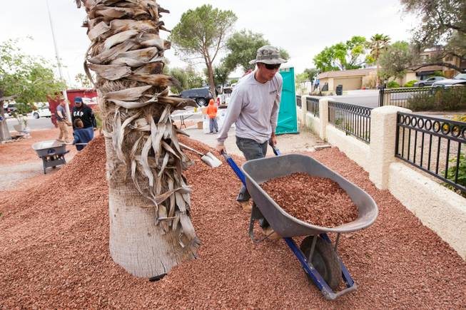 Volunteer Andy Warnement moves rock along the side of the home of photographer Robert Scott Hooper and wife Theresa Hooper as part of the Rebuilding Together Southern Nevada's annual neighborhood rebuilding event in Las Vegas Saturday, April 26, 2014.