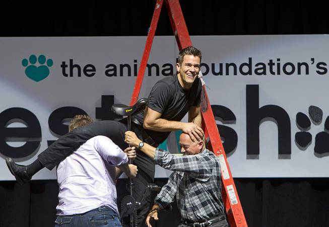 Entertainer Jeff Civillico gets help from audience members Antonio Trillo, left, and Kevin Wogalter, as he mounts a unicycle during the Animal Foundation's 11th annual Best in Show competition at the Orleans Arena Sunday, April 27, 2014. Civillico performs in a 4 p.m. show at the Quad.