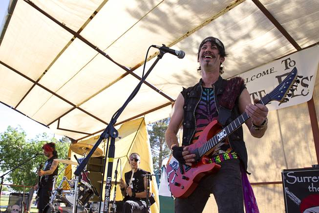 Rikki Sterling performs with the Pirates of Pop during the second annual Pirate Festival Las Vegas in Lorenzi Park Sunday, April 27, 2014.