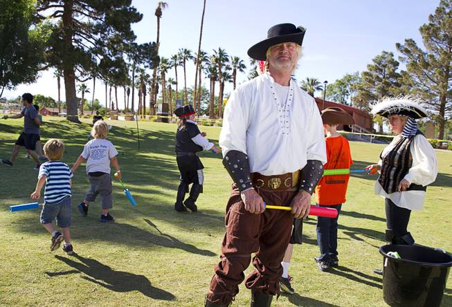 Frank Van Dyke, director of the Red Rock Fencing Center, poses during the second annual Pirate Festival Las Vegas in Lorenzi Park Sunday, April 27, 2014.