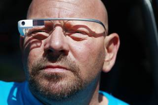 Gary Verrazono displays his Google Glass unit Wednesday, April 23, 2014.