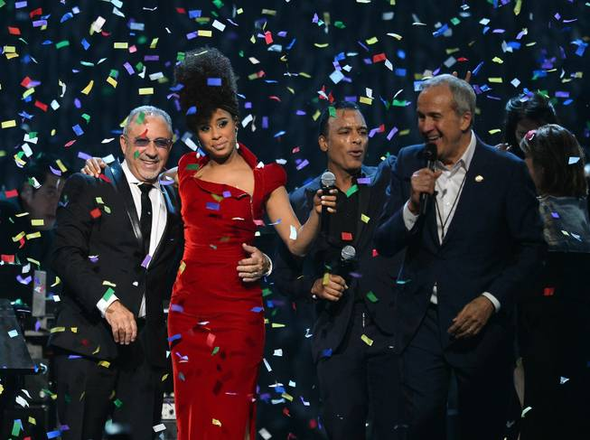 "Honoree Emilio Estefan Jr., singer Fantine, singer/songwriter Jon Secada and Keep Memory Alive founder Larry Ruvo appear onstage during the 18th annual Keep Memory Alive ""Power of Love Gala"" benefit for the Cleveland Clinic Lou Ruvo Center for Brain Health honoring Gloria Estefan and Estefan Jr. on Saturday, April 26, 2014, at MGM Grand Garden Arena."