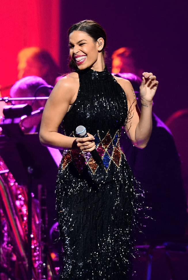 "Singer Jordin Sparks performs during the 18th annual Keep Memory Alive ""Power of Love Gala"" benefit for the Cleveland Clinic Lou Ruvo Center for Brain Health honoring Gloria Estefan and Emilio Estefan Jr. on Saturday, April 26, 2014, at MGM Grand Garden Arena."