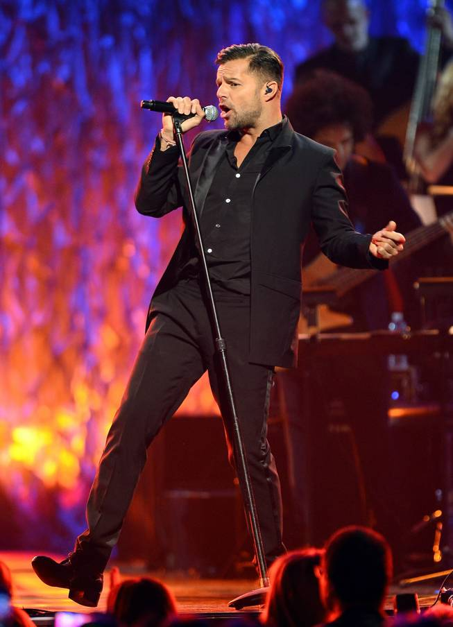 "Singer Ricky Martin performs during the 18th annual Keep Memory Alive ""Power of Love Gala"" benefit for the Cleveland Clinic Lou Ruvo Center for Brain Health honoring Gloria Estefan and Emilio Estefan Jr. on Saturday, April 26, 2014, at MGM Grand Garden Arena."