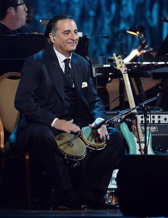 "Actor Andy Garcia performs during the 18th annual Keep Memory Alive ""Power of Love Gala"" benefit for the Cleveland Clinic Lou Ruvo Center for Brain Health honoring Gloria Estefan and Emilio Estefan Jr. on Saturday, April 26, 2014, at MGM Grand Garden Arena."