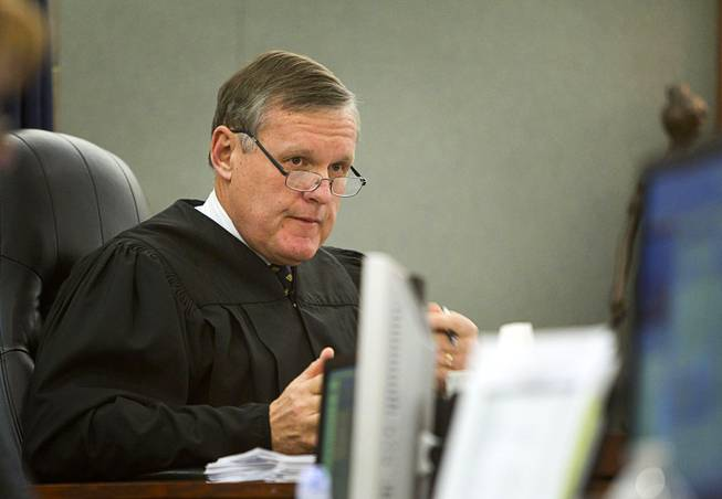 Judge David Barker presides over sentencing for Brittanie Merritt-Burwell at the Regional Justice Center Monday April 28, 2014. Merritt-Burwell  was sentenced to 96-240 months in prison on charges relating to a road rage incident on the Las Vegas Strip in December 2013.