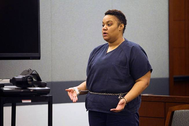 Brittanie Merritt-Burwell speaks during sentencing at the Regional Justice Center Monday April 28, 2014. Merritt-Burwell  was sentenced to 96-240 months in prison on charges relating to a road rage incident on the Las Vegas Strip in December 2013.