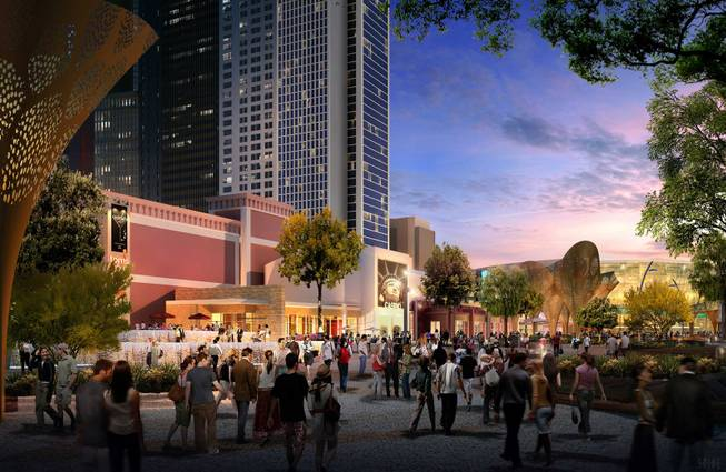 An artist's rendering of MGM Resorts International's project the Park, which will connect New York-New York and Monte Carlo with an eight-acre outdoor experience.