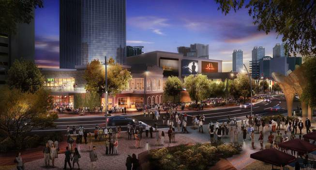 An artist's rendering of the outdoor venues at MGM Resorts International's project the Park, which will connect New York-New York and Monte Carlo with an eight-acre outdoor experience.